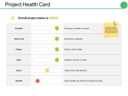 Project Health Card Ppt Infographics Deck