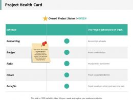 Project Health Card Ppt Infographics Vector