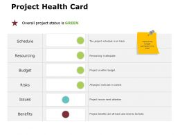 Project Health Card Ppt Powerpoint Presentation Gallery Templates