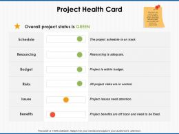 Project Health Card Resourcing Ppt Powerpoint Presentation File Picture