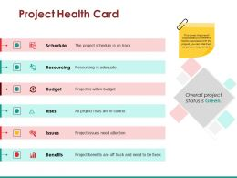 Project Health Card Sample Of Ppt Presentation