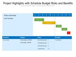 Project Highlights With Schedule Budget Risks And Benefits