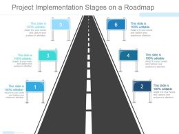 Project Implementation Stages On A Roadmap Ppt Examples