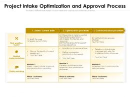 Project Intake Optimization And Approval Process