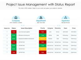 Project Issue Management With Status Report