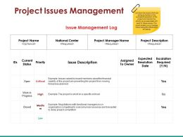 Project Issues Management Ppt Infographics