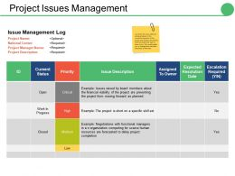 Project Issues Management Ppt Infographics Background Image