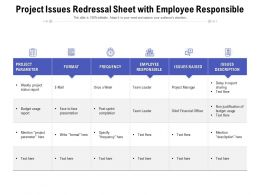Project Issues Redressal Sheet With Employee Responsible