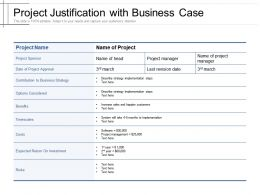 Project Justification With Business Case