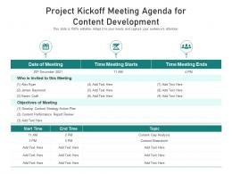 Project Kickoff Meeting Agenda For Content Development
