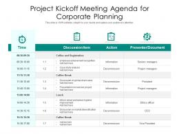 Project Kickoff Meeting Agenda For Corporate Planning