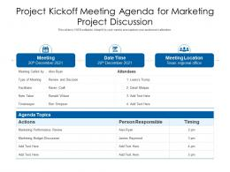 Project Kickoff Meeting Agenda For Marketing Project Discussion