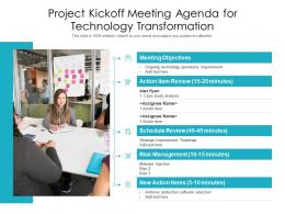 Project Kickoff Meeting Agenda For Technology Transformation