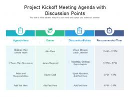 Project Kickoff Meeting Agenda With Discussion Points