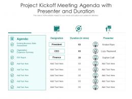Project Kickoff Meeting Agenda With Presenter And Duration