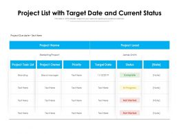 Project List With Target Date And Current Status
