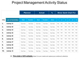 Project Management Activity Status Sample Of Ppt