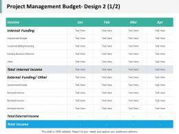 Project Management Budget Design 2 1 2 Ppt Inspiration Gallery