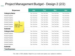 Project Management Budget Design Expenses Ppt Powerpoint Presentation Gallery Template