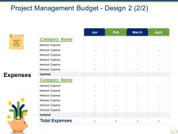 Project Management Budget Design Powerpoint Slide Themes