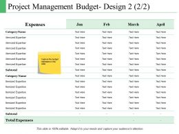 Project Management Budget Design Ppt Powerpoint Presentation Portfolio Show