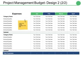 Project Management Budget Design Ppt Slides Deck
