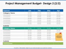 Project Management Budget Expenses Ppt Powerpoint Presentation File Ideas