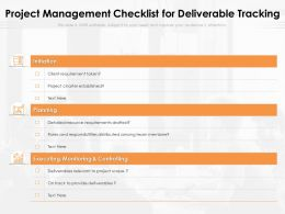 Project Management Checklist For Deliverable Tracking