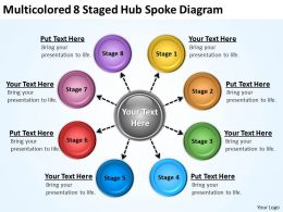 Project Management Consultancy Multicolored 8 Staged Hub Spoke Diagram Powerpoint Templates 0523