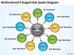 Project Management Consultancy Multicolored 9 Staged Hub Spoke Diagram Powerpoint Templates 0523