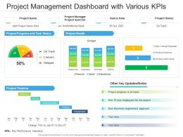Project Management Dashboard With Various KPIs