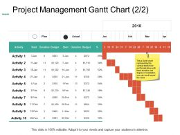 Project Management Gantt Chart Budget Ppt Powerpoint Presentation Layouts Brochure