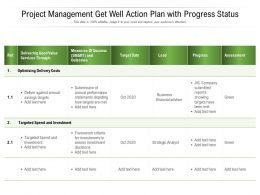 Project Management Get Well Action Plan With Progress Status