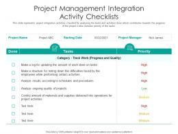 Project Management Integration Activity Checklists