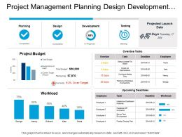 Project Management Planning Design Development And Testing Dashboard