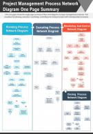 Project Management Process Network Diagram One Page Summary Report PPT PDF Document