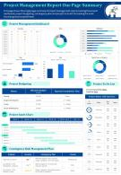 Project Management Report One Page Summary Presentation Report Infographic PPT PDF Document