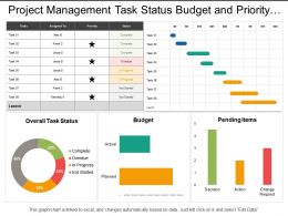 Project Management Task Status Budget And Priority Dashboard