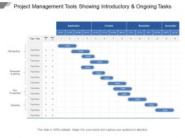 Project Management Tools Showing Introductory And Ongoing Tasks