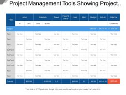 Project Management Tools Showing Project Tracking And Costs