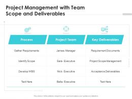 Project Management With Team Scope And Deliverables