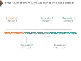 Project Management Work Experience Ppt Slide Themes