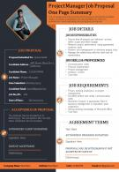 Project Manager Job Proposal One Page Summary Presentation Report Infographic PPT PDF Document