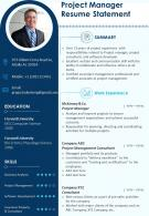 Project Manager Resume Statement Presentation Report Infographic PPT PDF Document
