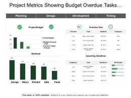 Project Metrics Showing Budget Overdue Tasks Workload