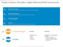 Project Name Discipline Agile Delivery Dad Framework Ppt Powerpoint Presentation Styles Rules