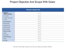 Project Objective And Scope With Gears