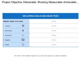 Project Objective Deliverable Showing Measurable Achievable And Realistic