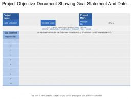 Project Objective Document Showing Goal Statement And Date Created