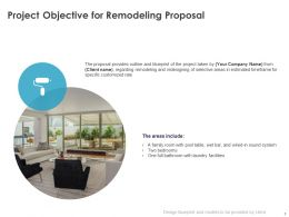 Project Objective For Remodeling Proposal Ppt Powerpoint Presentation Gallery Topics